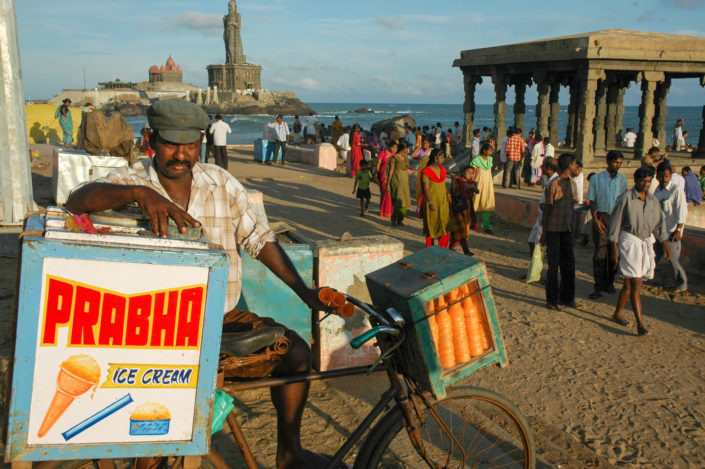 A cycling ice cream salesman in South India.