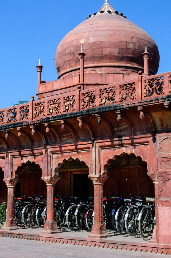 Bicycle parking in Agra, India.