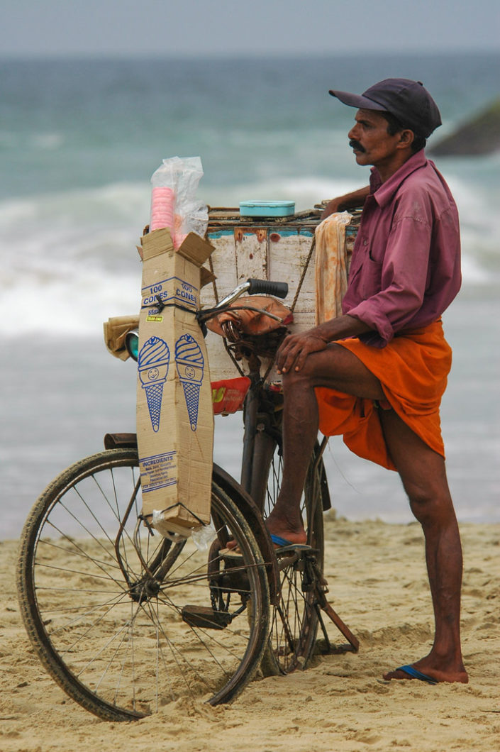 A cycling ice cream salesman in South India