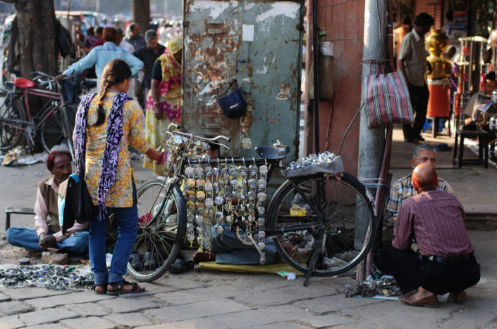 Locks hang over a bicycle in India