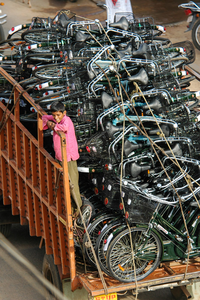 New Indian bicycles are transported in a truck
