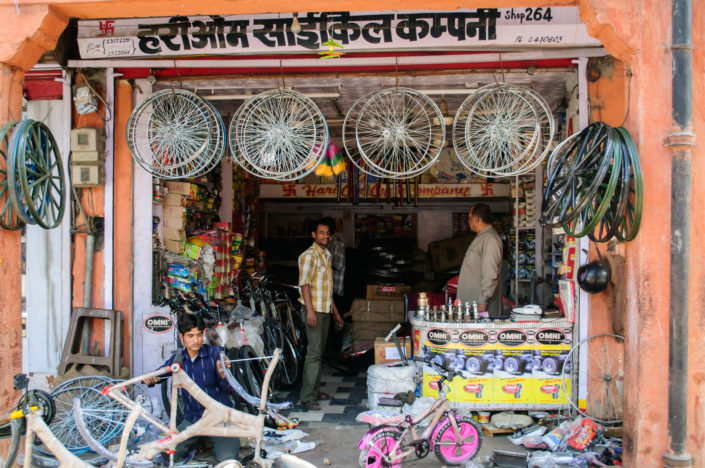 A bicycle repair shop in Jaipur, India.