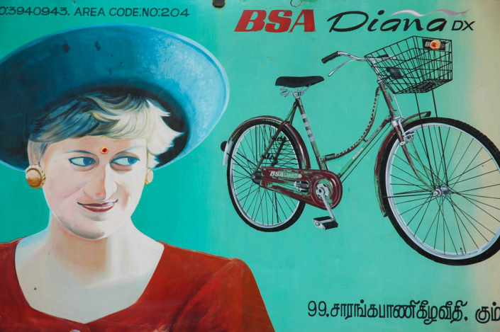 An advertising sign for a Princess Diane bicycle in India