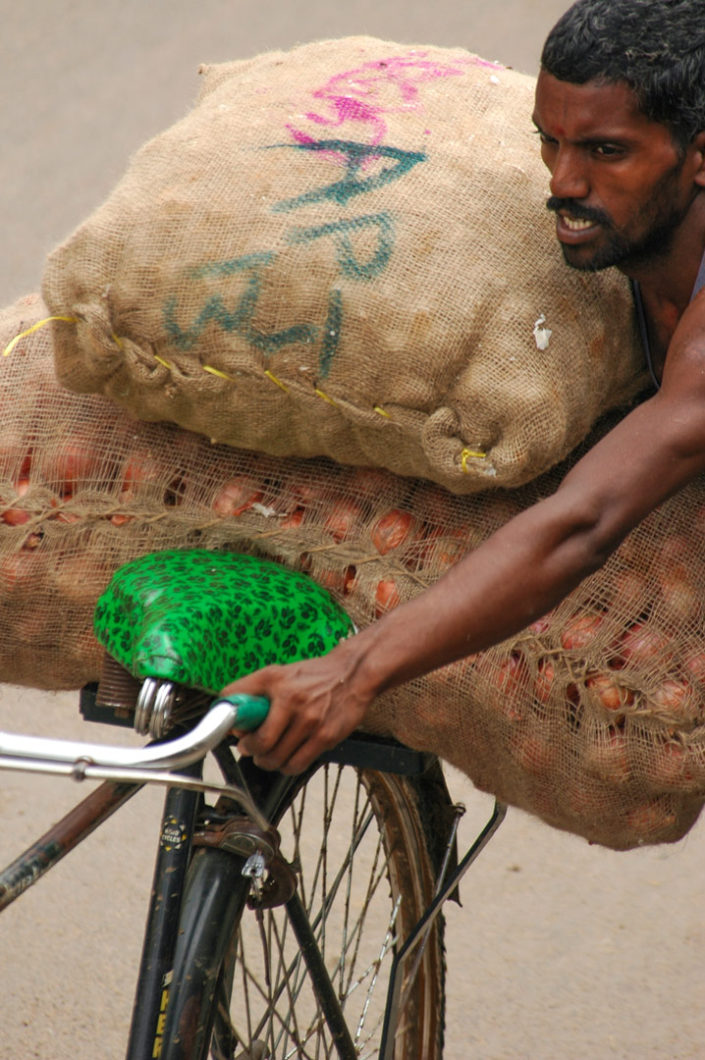 An Indian man pushes a bicycle that is loaded up with bags of onions