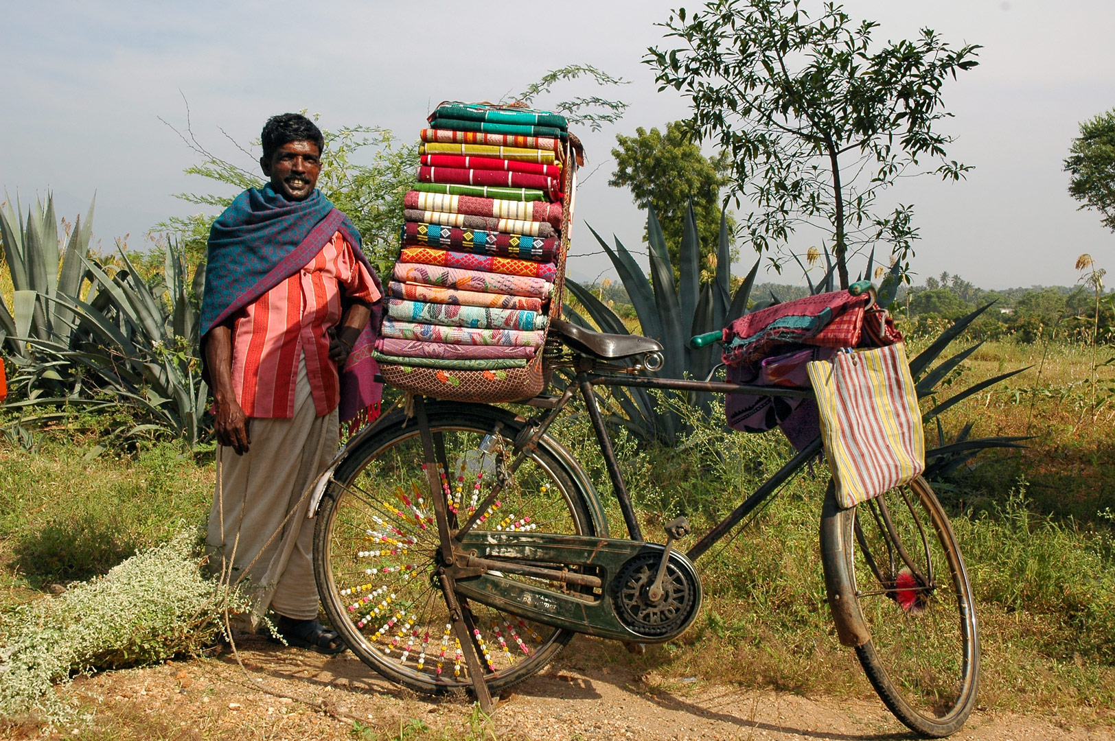 A cycling cloth salesman in South India