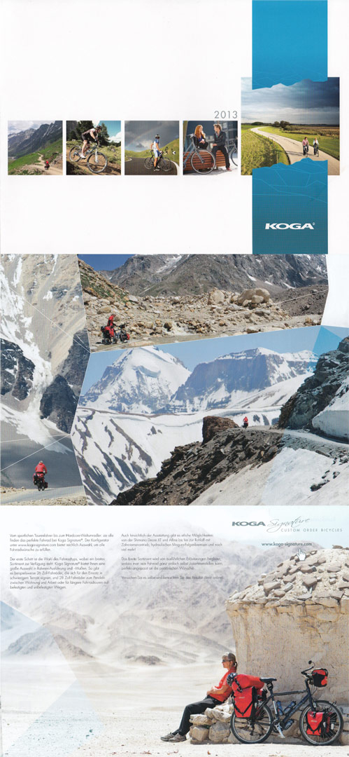 Paul's photos appear in the 2013 Koga bicycle catalogue