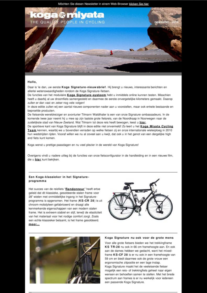 Koga bikes Signature newsletter