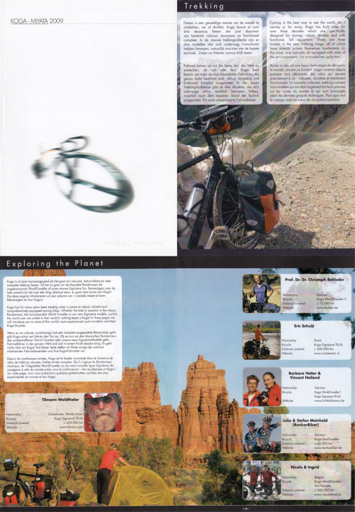 Paul Jeurissen's cycling photos in the 2009 Koga bicycles catalogue