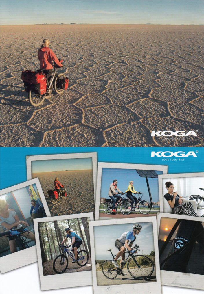 Postcards from Koga bicycles with Paul's photos.