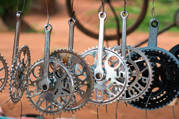 Bicycle chain rings are for sale in a bike shop
