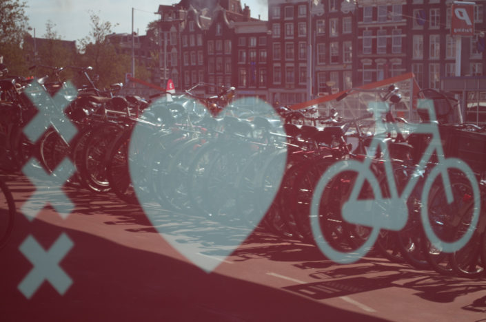 Amsterdam love bicycle poster