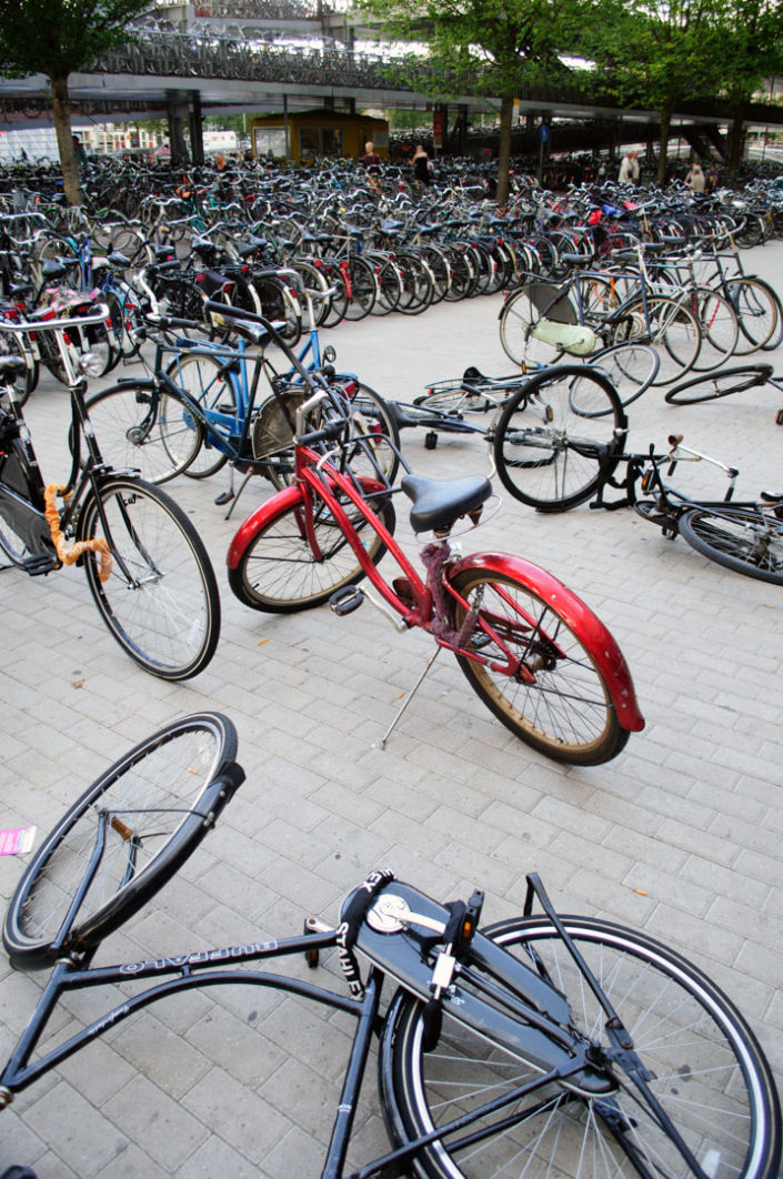 Chaotically parked bicycles in Amsterdam.