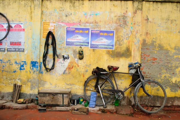 A bicycle repair shop in Bangladesh