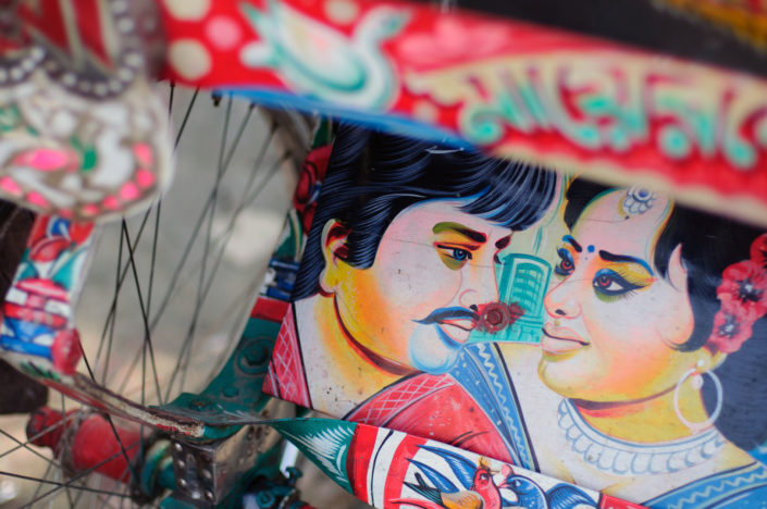 A highly decorated rickshaw frame in Bangladesh