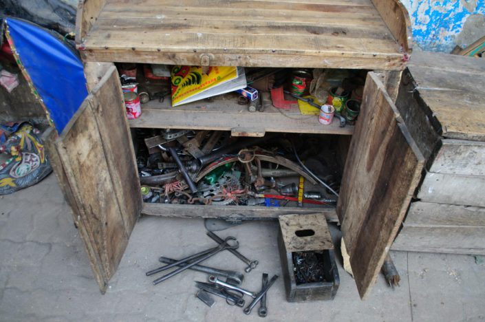 A chest of tools to repair rickshaws