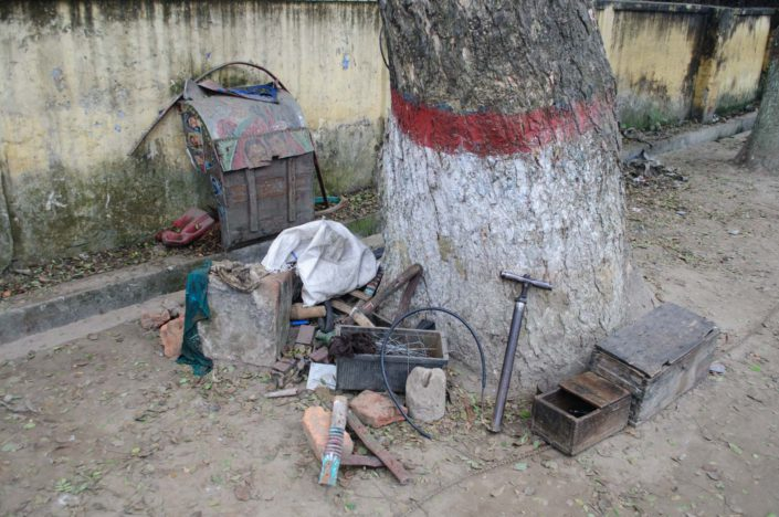 A rickshaw repair spot in Bangladesh