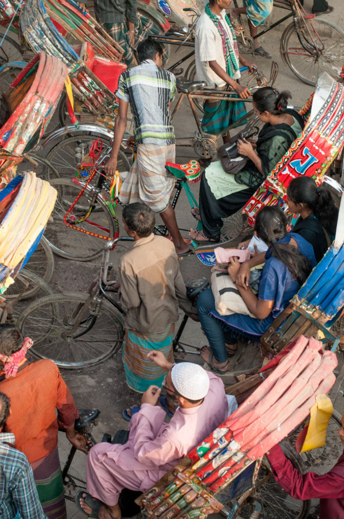 Rickshaws are stuck in a traffic jam in Bangladesh