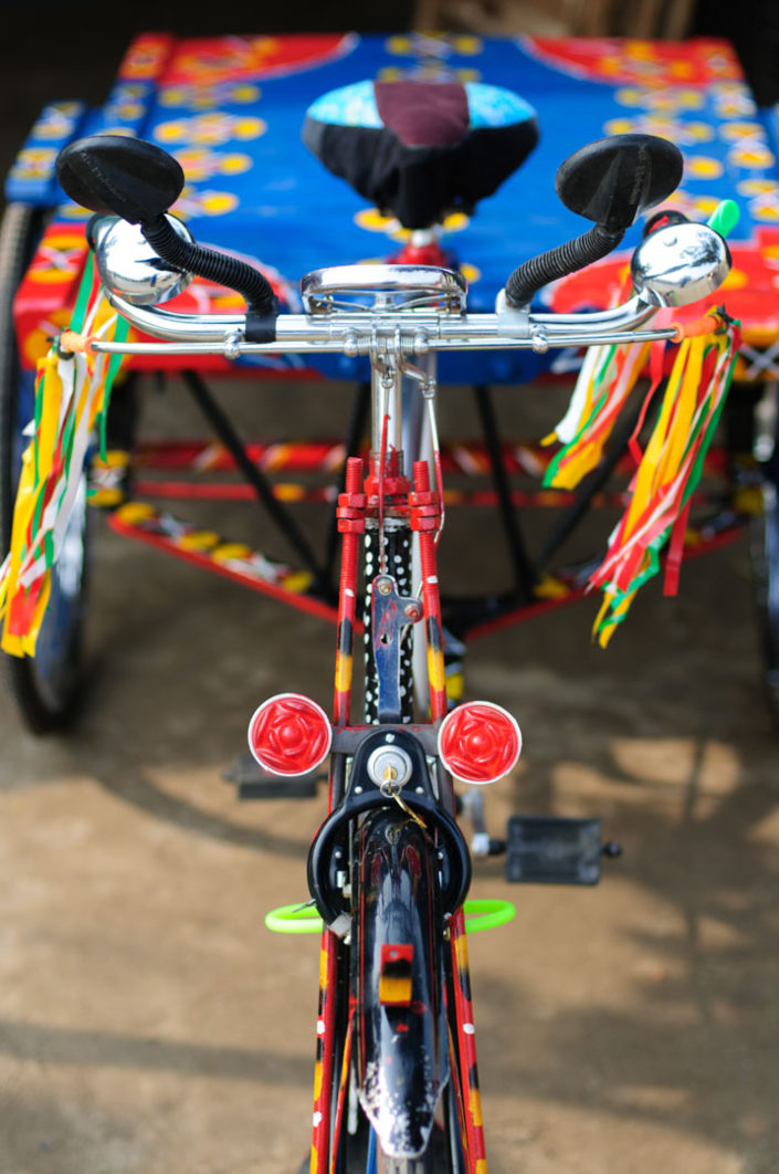 A brightly decorated van rickshaw in Bangladesh