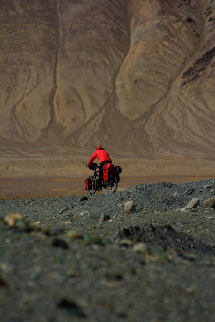 A touring bicyclist in Tajikistan.