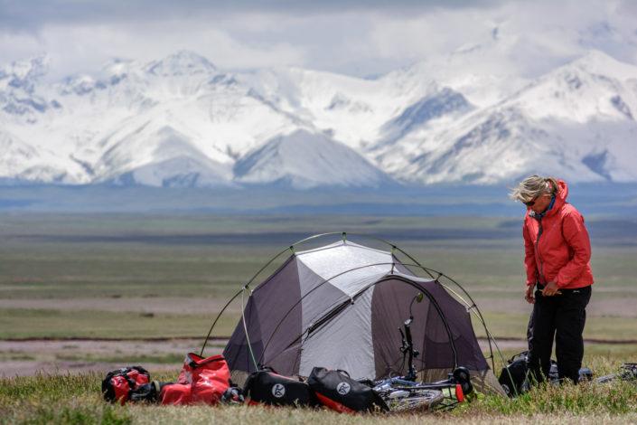 Bike camping near Sary Tash, Kyrgyzstan.
