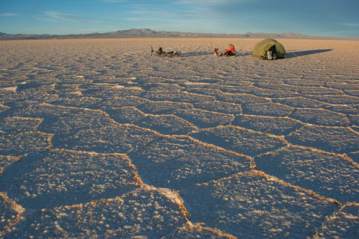 Camping on the Salar de Uyuni in Bolivia.