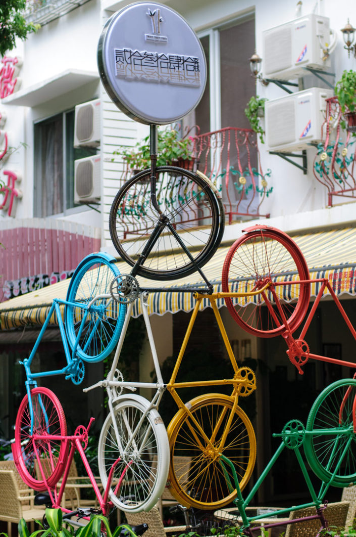 A colorful bicycle statue in China