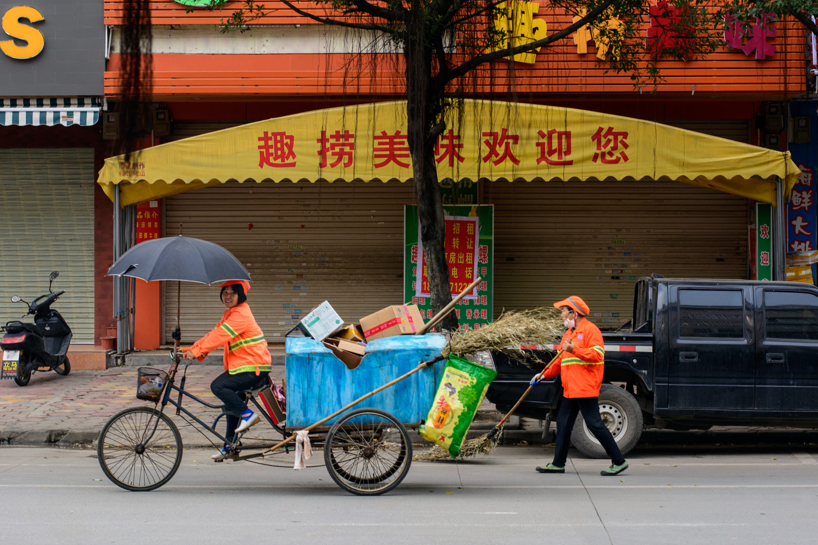 Cycling street cleaners in China