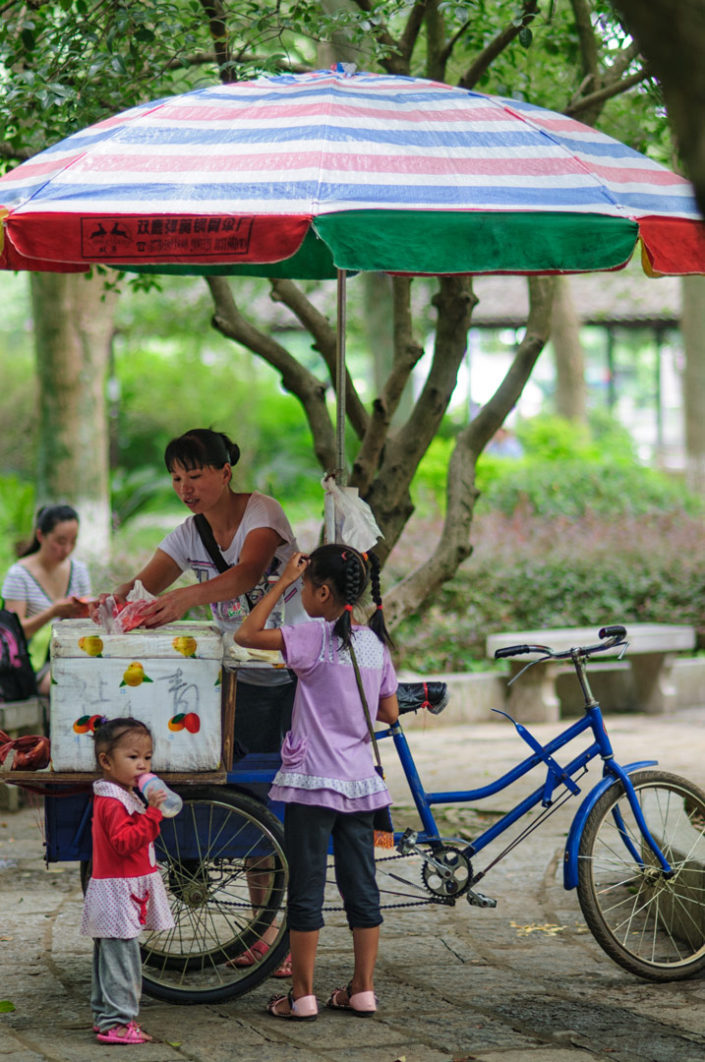 A cycling ice cream saleswoman in China