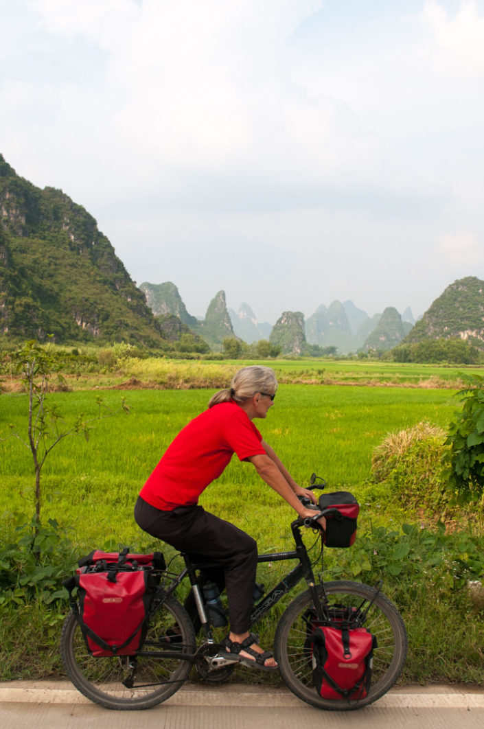 Bicycle touring near Yangshuo, China