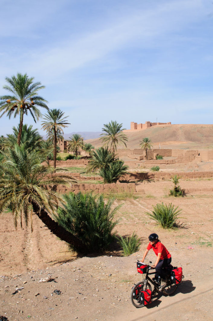 A cyclist rides past palm trees and a casbah in Morocco