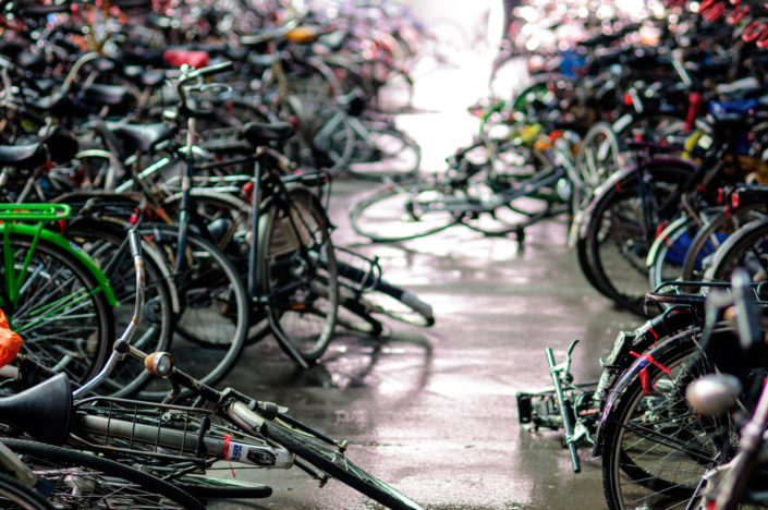 Bicycles are parked chaotically in Leiden, the Netherlands