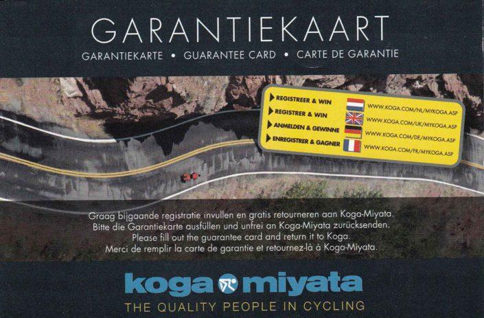 Koga bikes garantie kaart