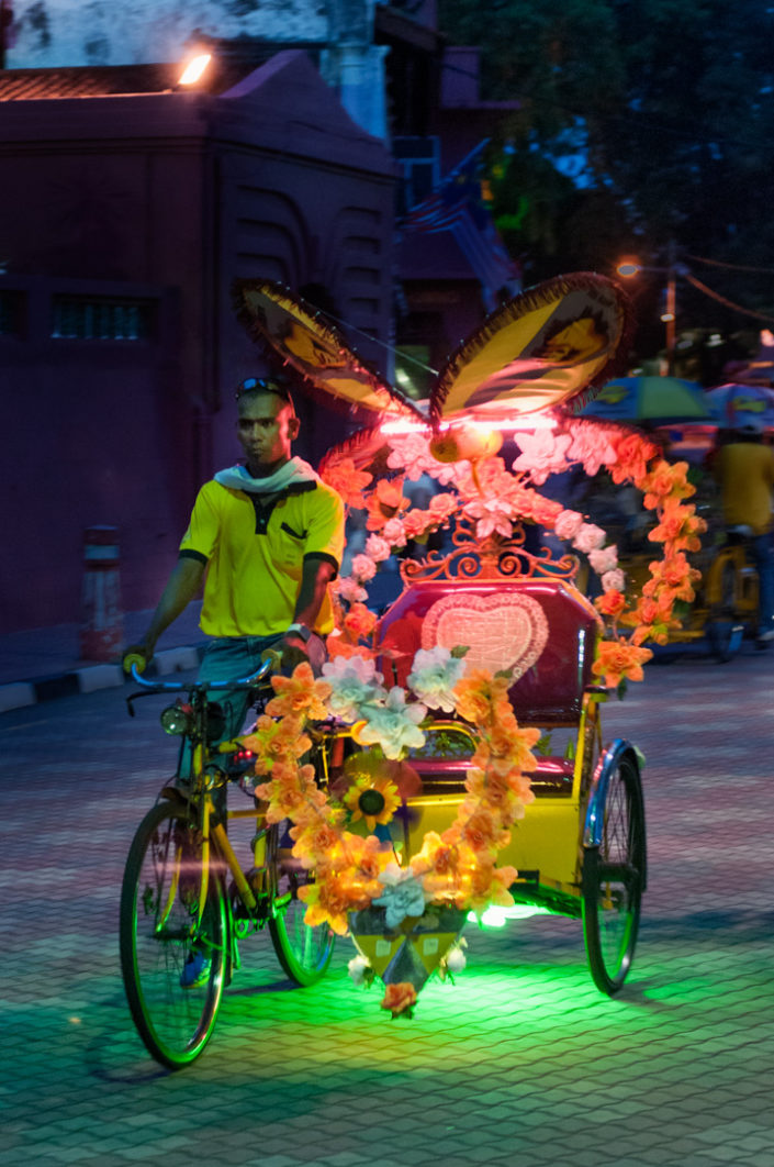 A lighted rickshaw in Malacca, Malaysia