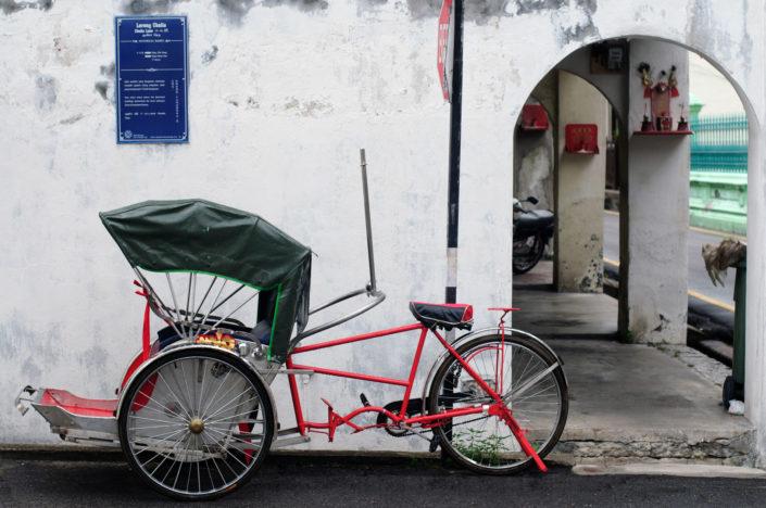 A red rickshaw in Penang, Malaysia