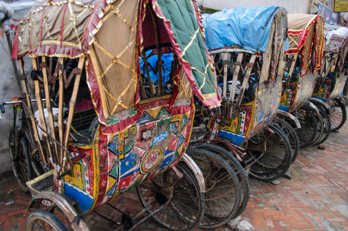 Rickshaws are parked in Kathmandu, Nepal