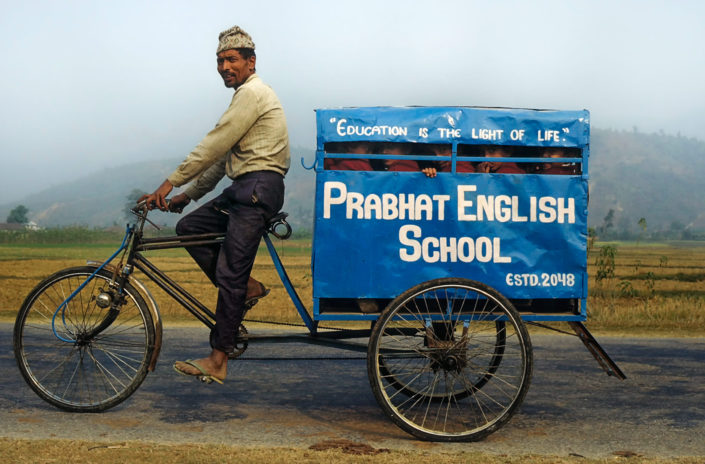 A school rickshaw in Nepal