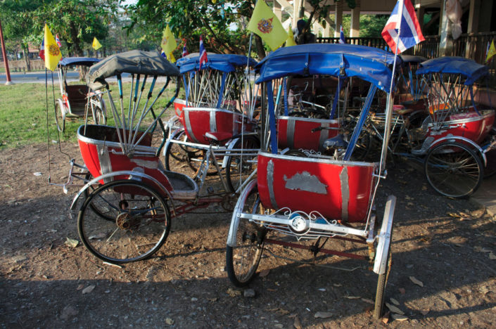 Parked rickshaws in Thailand