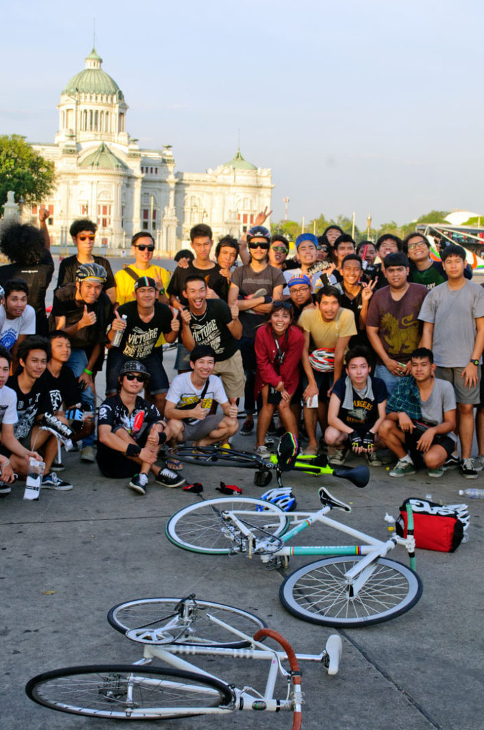 A group of riders with their single speed bicycles hang out in Bangkok Thailand