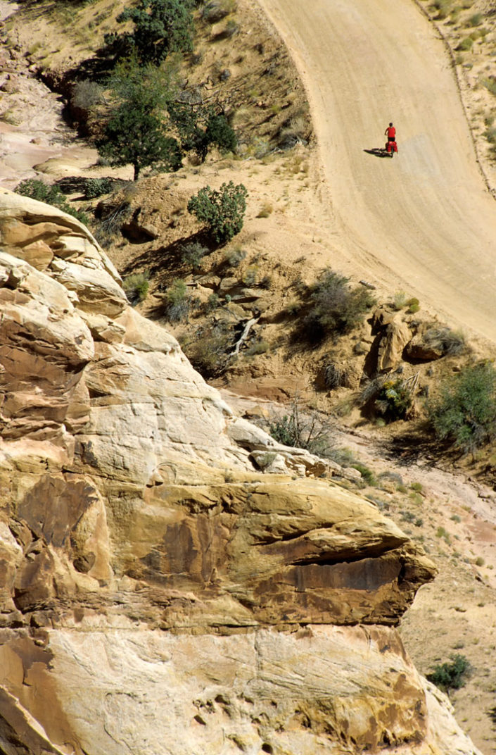 Little red cyclist in the American Southwest