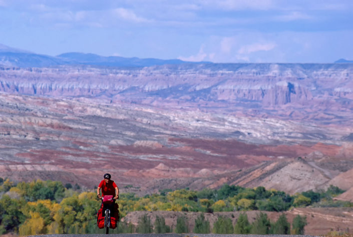 Bicycle touring in the painted desert of Utah.