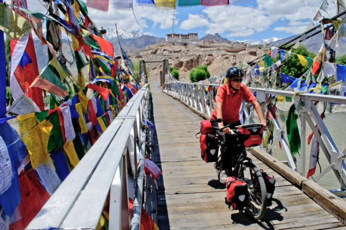 Bicycle touring near Stakna monastery, Ladakh, India