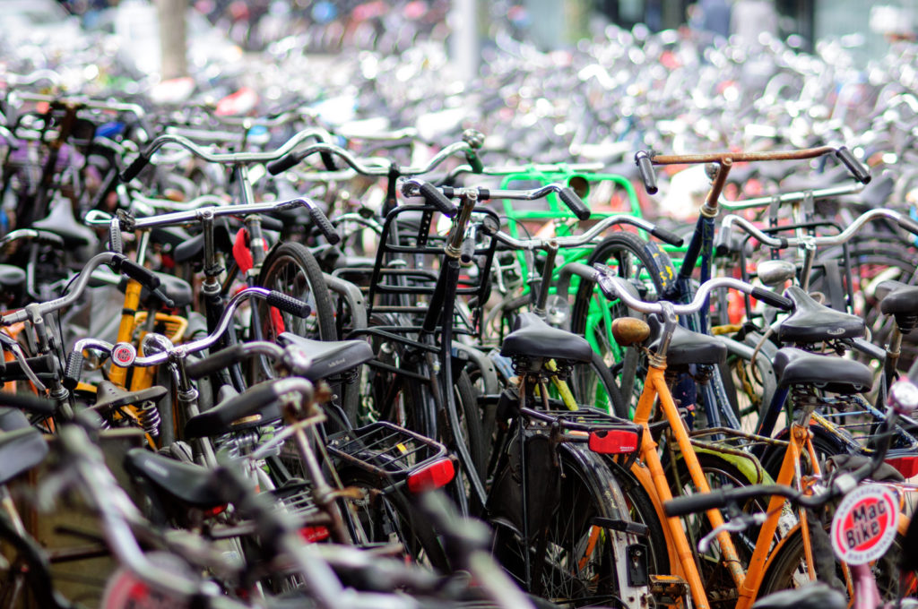 A sea of parked bicycles in Amsterdam, the Netherlands