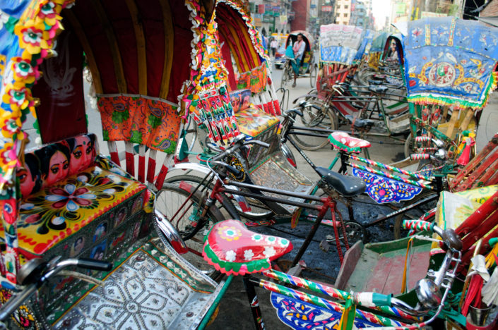 Overly decorated rickshaws in Dhaka Bangladesh