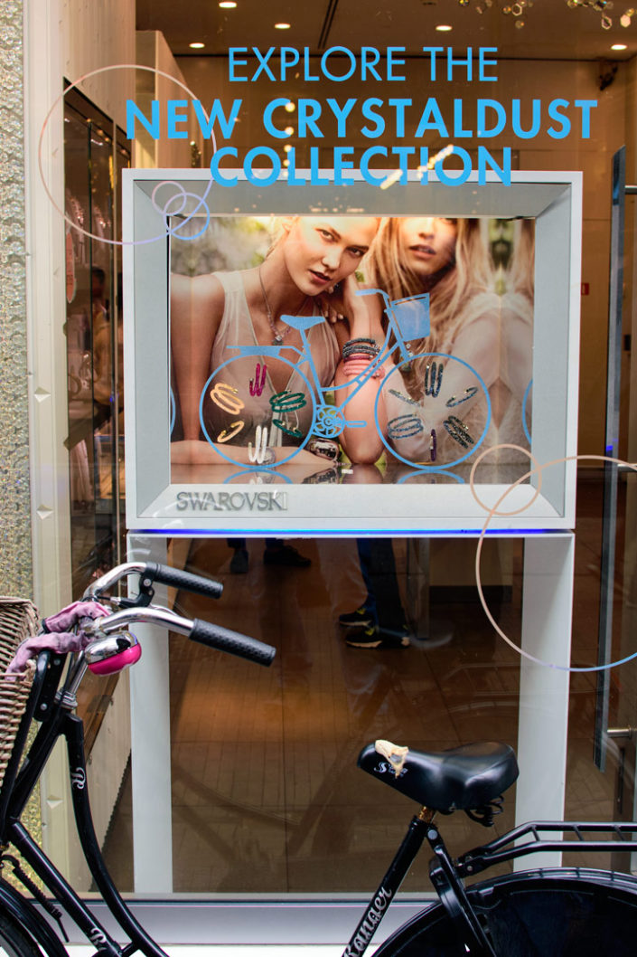 A bicycle symbol in a shop window for Swarovski jewellery