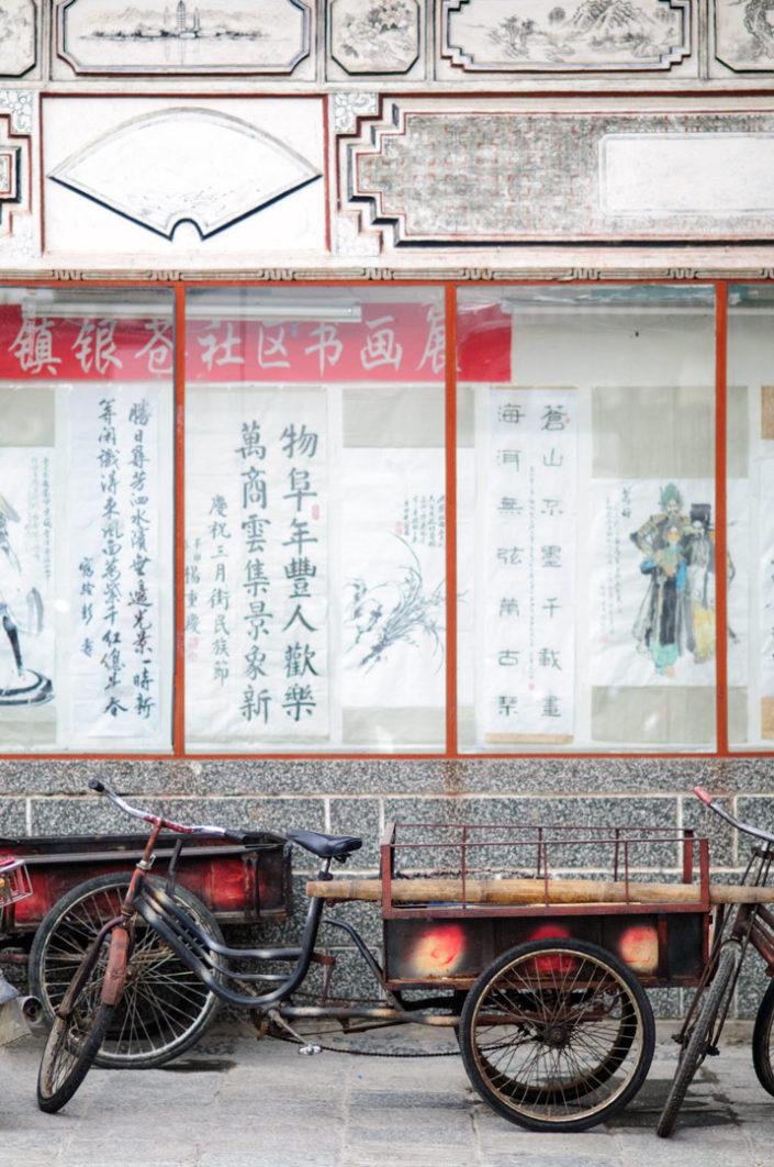 a red cargo bike in China