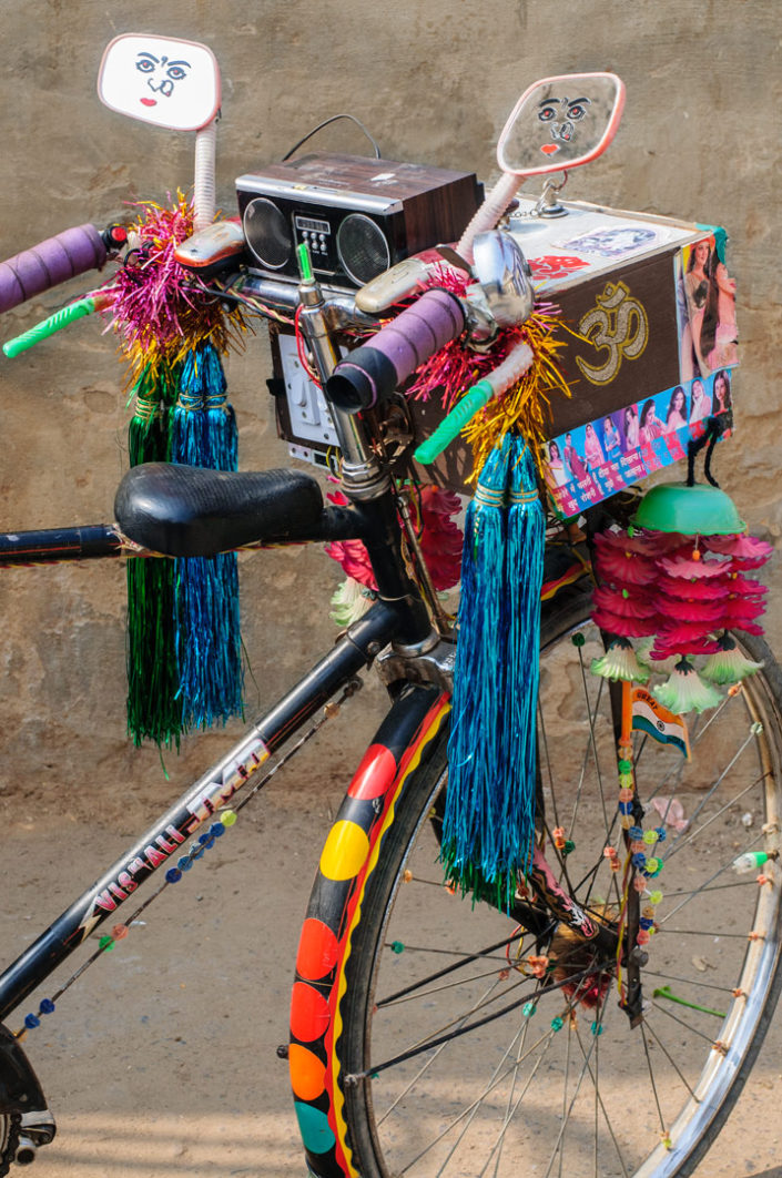 An overly decorated bicycle in North India