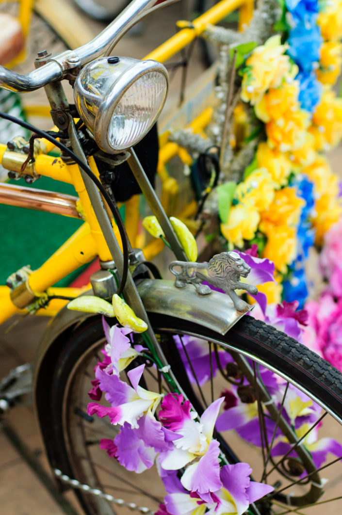 An overly decorated rickshaw in Malacca, Malaysia