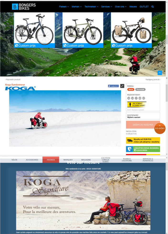 Photos used in bicycles shop websites for Koga