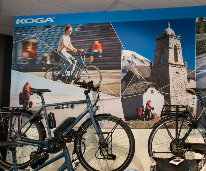 Koga bicycles photo collage for a bike shop