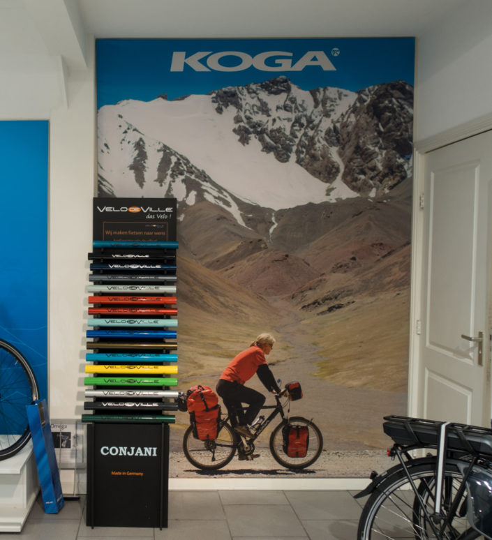 Poster of cycling in the Pamirs for Koga bicycles